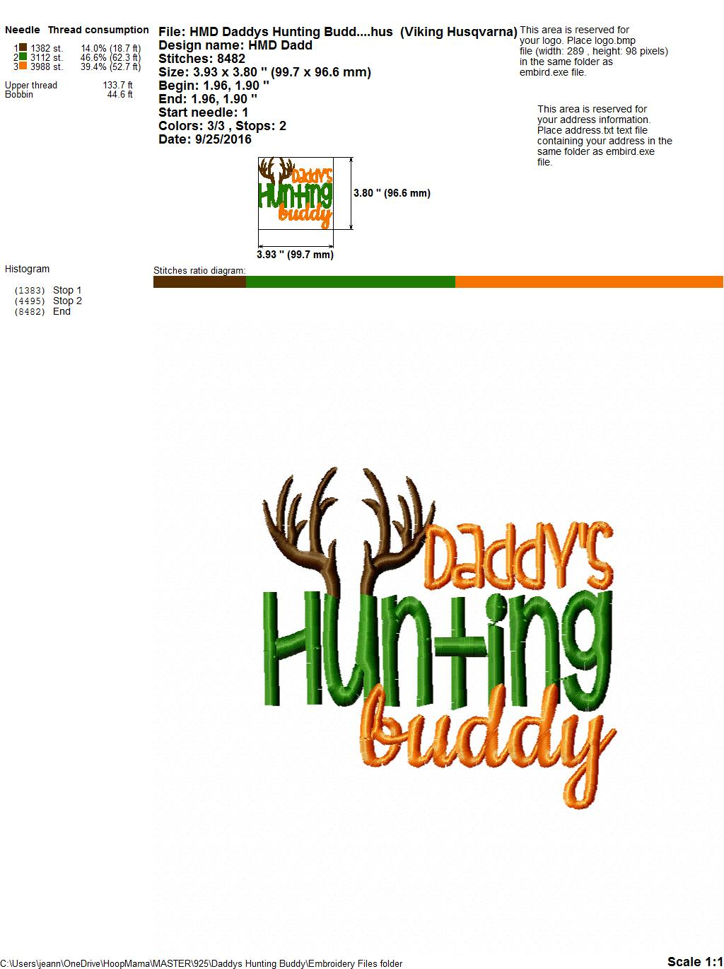 bae09d01d Daddy's Hunting Buddy - Embroidery and Cutting Option - HoopMama