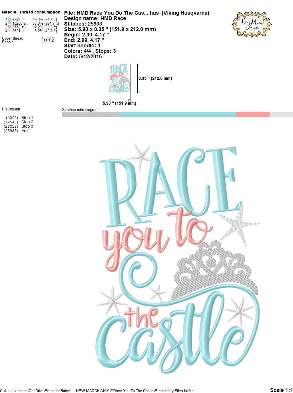 Race You To The Castle Embroidery And Cutting Options Hoopmama