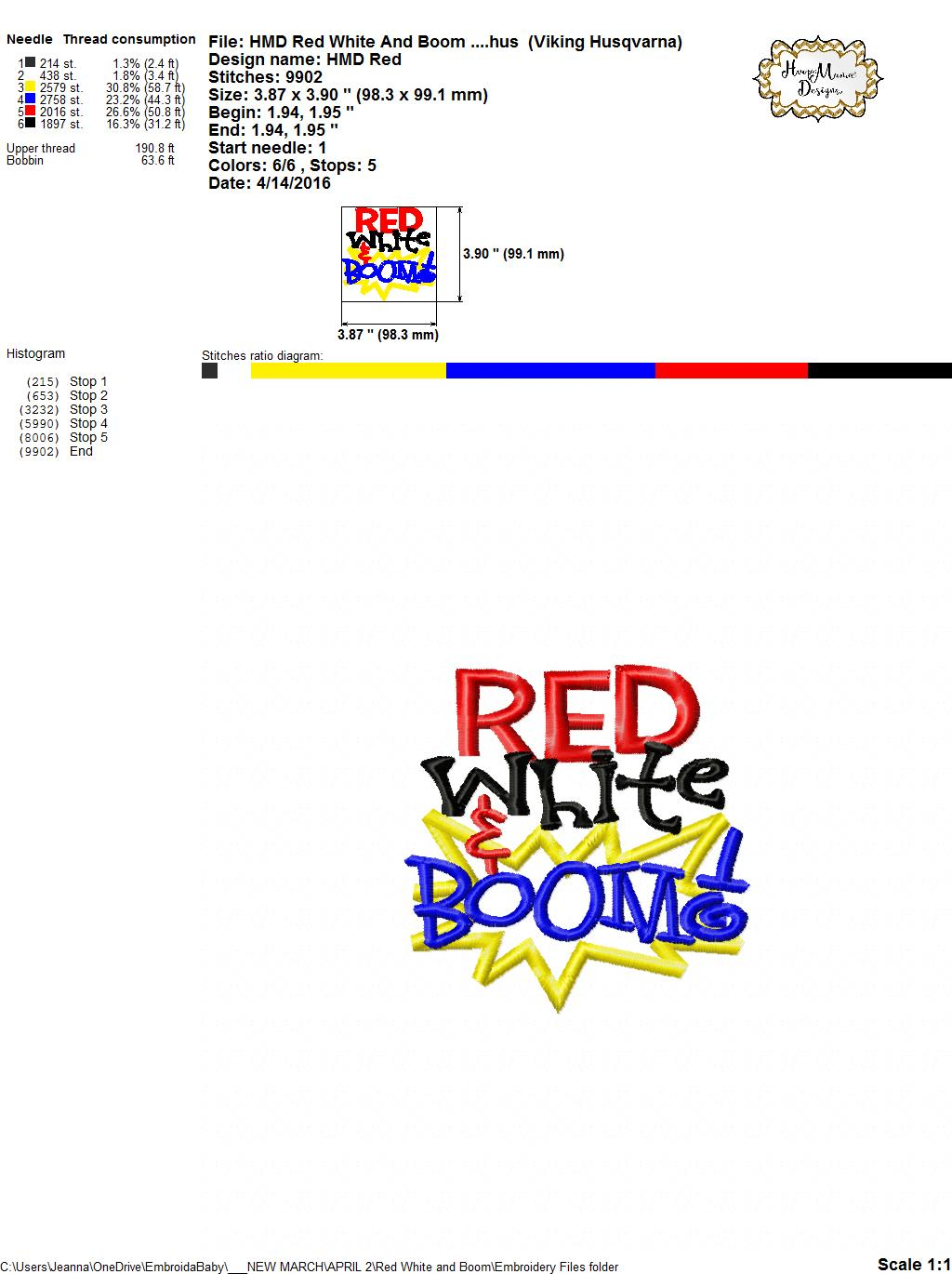 Red, White & Boom! - Embroidery and Cutting Options - HoopMama - photo#20