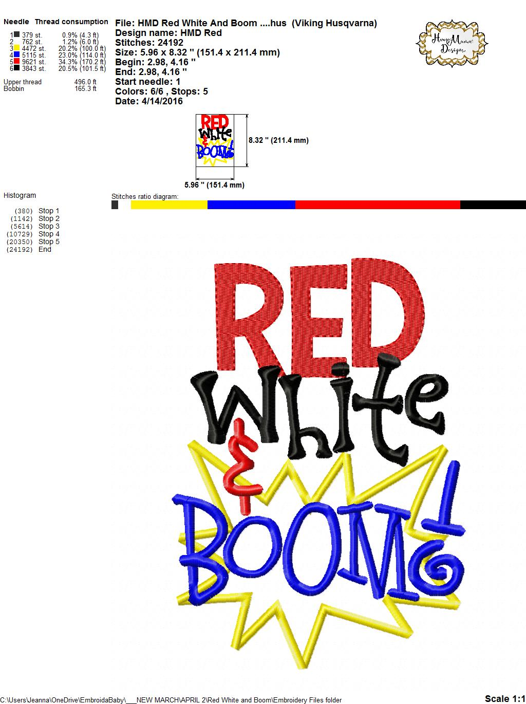 Red, White & Boom! - Embroidery and Cutting Options - HoopMama - photo#9