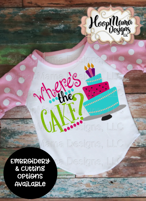 Where s the cake embroidery and cutting option hoopmama