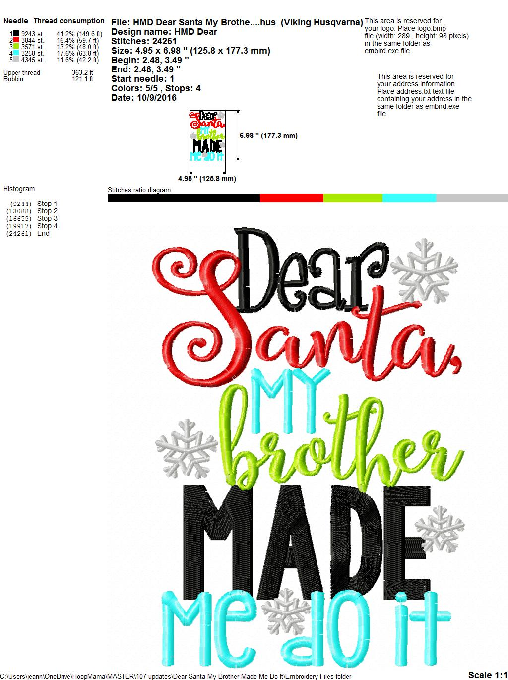 Dear Santa, My Brother Made Me Do It - Embroidery and Cutting Options