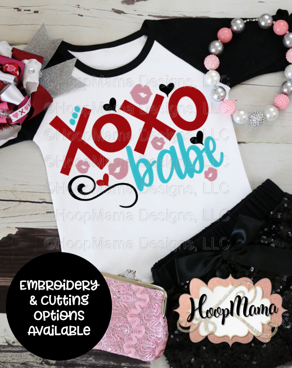 Xoxo babe embroidery and cutting options hoopmama