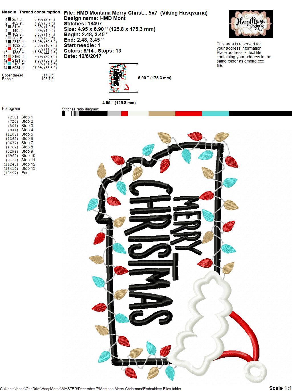 Montana Merry Christmas - Embroidery and Cutting Options - HoopMama