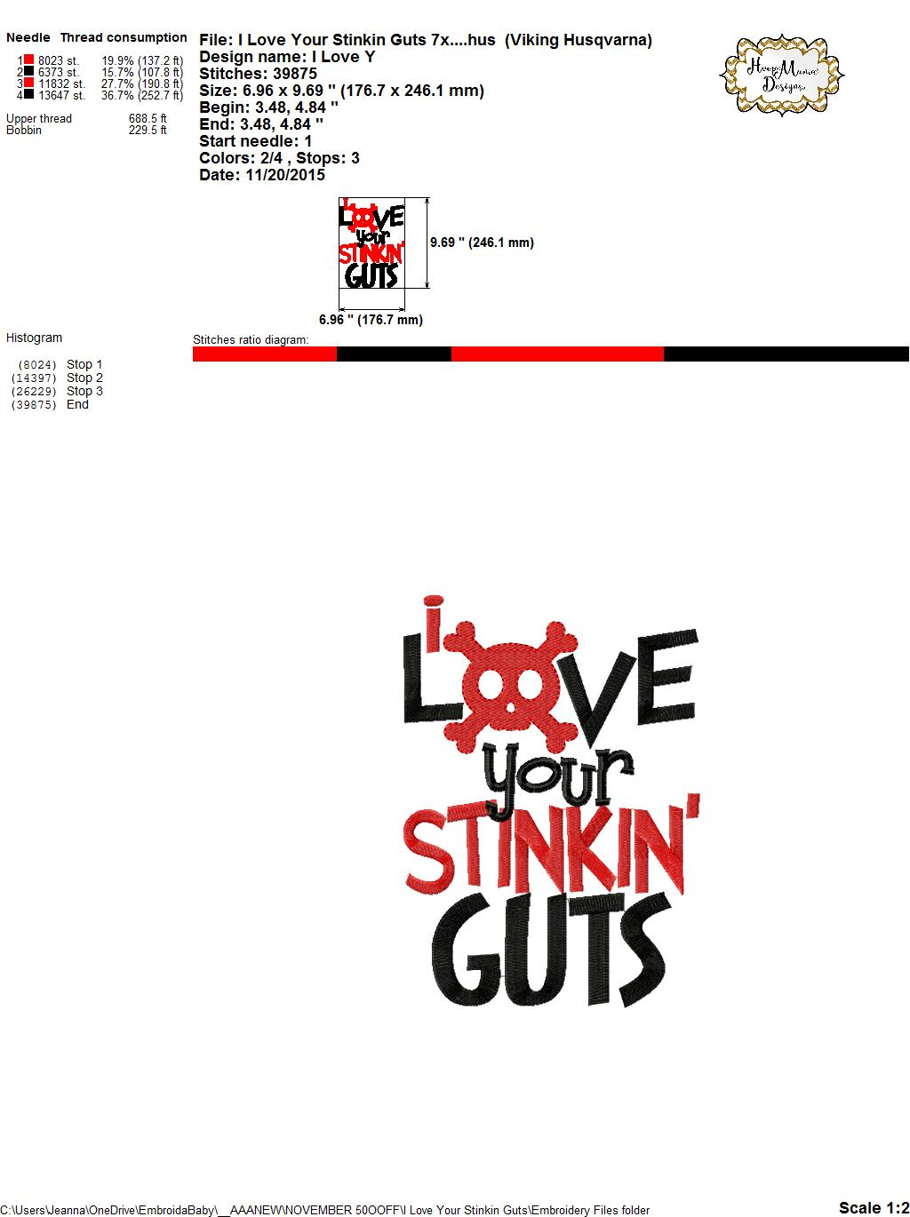 Download I Love Your Stinkin' Guts - Embroidery and Cutting Options ...