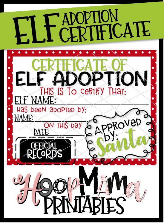 elf adoption certificate printable download hoopmama - Elf Adoption Certificate Template