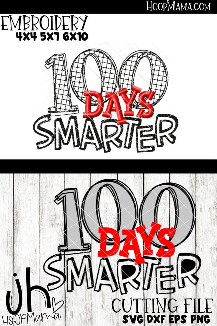 100 Days Smarter Boy Embroidery And Cutting Options Hoopmama